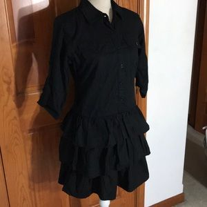 Be Bop Black Shirtdress with Ruffles SZ M